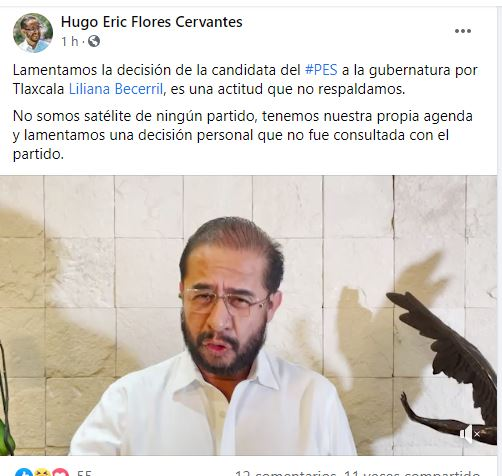 Dirigente nacional del PES hace evidente su molestia a través de redes sociales.
